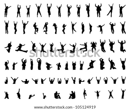 cheerful and jumping girls and boys and child - stock vector