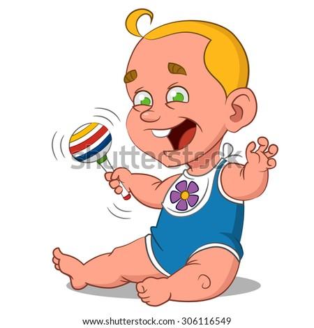 cheerful baby. Vector illustration. - stock vector
