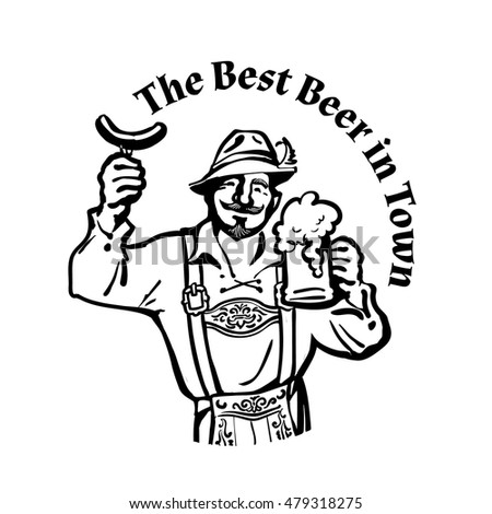 Cheerful Bavarian man with beer mug and sausage leaning on barrel Hand drawn vector illustration in vintage sketch style isolated on white background.Beer logo.