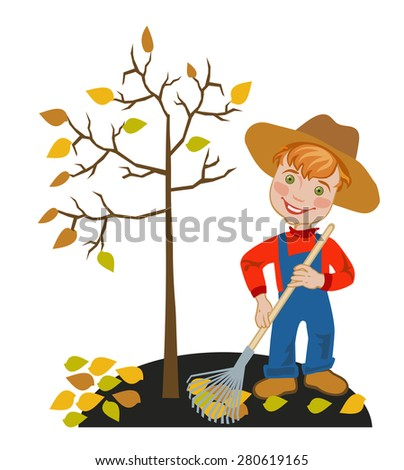 Cheerful boy gardener collecting autumn leaves under the apple tree - stock vector