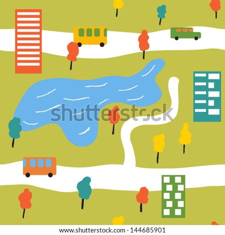 Cheerful bright city in the summer time. Vector seamless background - stock vector