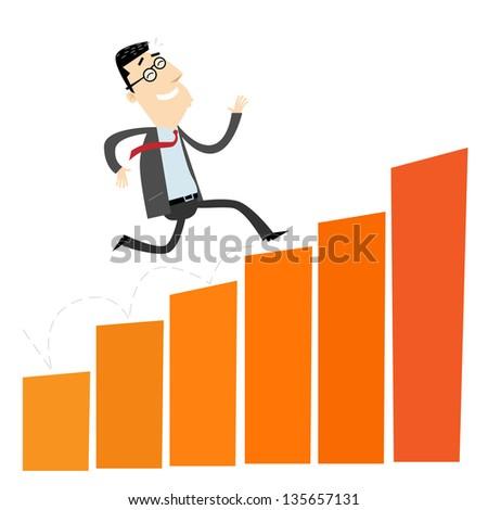 Cheerful businessman climbing a bar chart - stock vector