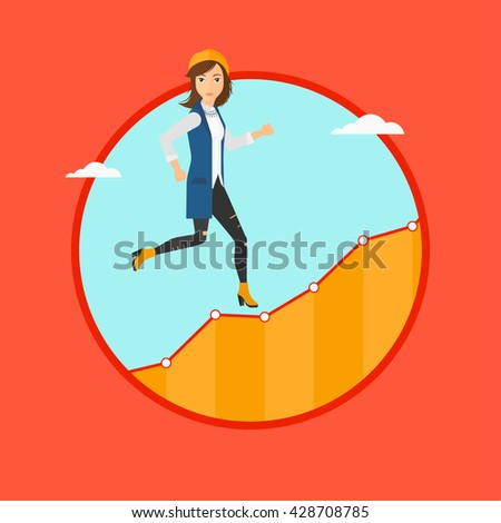 Cheerful businesswoman running along the growth graph. Businesswoman going up. Woman moving up. Successful business concept. Vector flat design illustration in the circle isolated on background. - stock vector