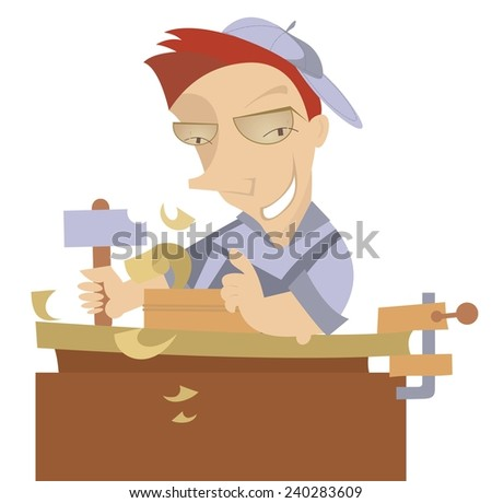 Cheerful carpenter works at joinery shop - stock vector