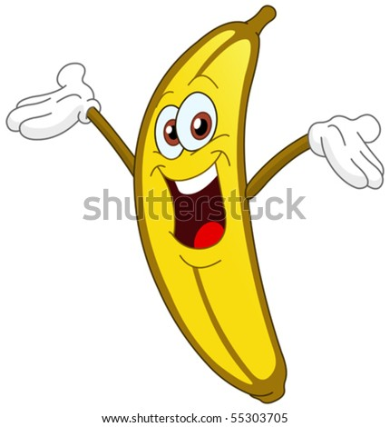 Cheerful Cartoon banana raising his hand