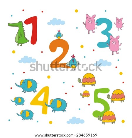 cheerful cartoon figures. Learning to count animals - stock vector