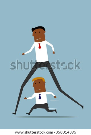 Cheerful cartoon long african american businessman has advantage over his rival and easily winning the competition. Competitive and career advantages, special skills concept design - stock vector