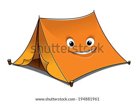 Cheerful cartoon orange tent with open front flaps and a smiling face on the side, vector illustration isolated on white - stock vector