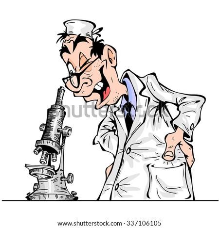 Cheerful cartoon scientist looking through a microscope - stock vector