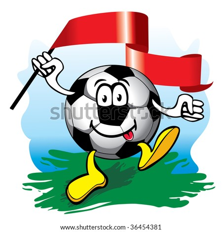 cheerful cartoon soccer ball with flag