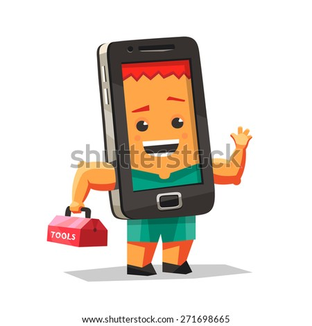 Cheerful character wizard phone repairs - stock vector