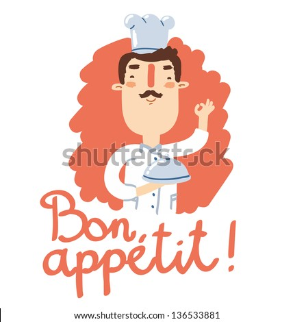 Cheerful chef with catering tray says bon appetit! - stock vector