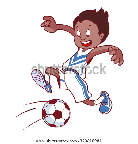 Cheerful child playing in football in sport uniform. Cartoon vector illustration.