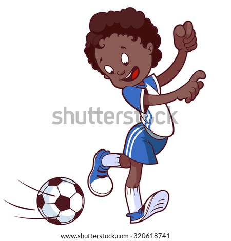 Cheerful child playing in football in sport uniform. Cartoon vector illustration on a white background. - stock vector
