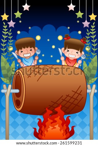Cheerful Children and a Roasted big Meat - on the fire, having fun with lovely little girl and cute boy at night on a background of dark blue sky and beautiful natural park : vector illustration - stock vector