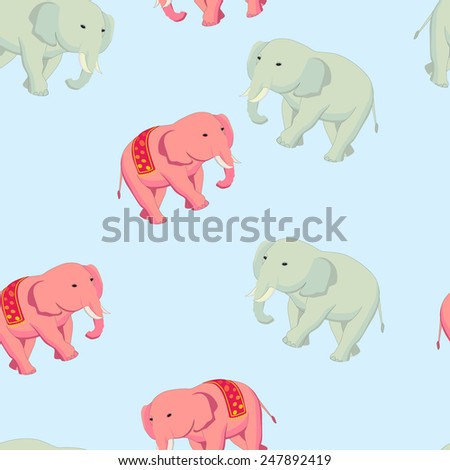Cheerful children's seamless pattern with colored elephants. Editable vector illustration. - stock vector