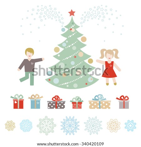 Cheerful children with a christmas tree, gifts and snowflakes. Christmas vector elements, winter holidays icons collection. Happy kids. New Year's decor for design template. - stock vector