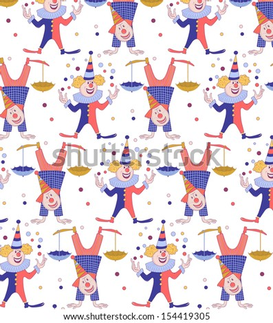 cheerful clown with umbrellas and color balls on white background - stock vector