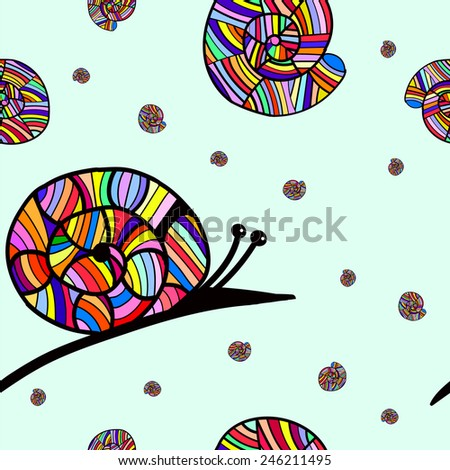 Cheerful colorful snail. In the style of children's drawings. Vector. Seamless pattern - stock vector