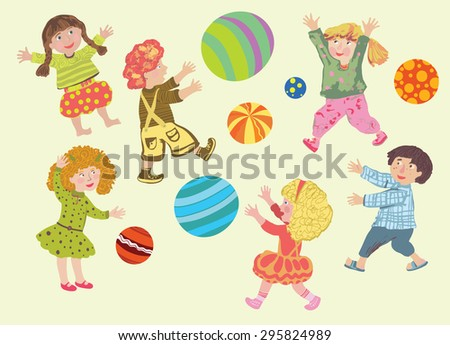 Cheerful cute kids in bright clothes play colorful balls
