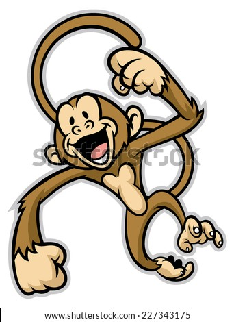 cheerful cute monkey - stock vector