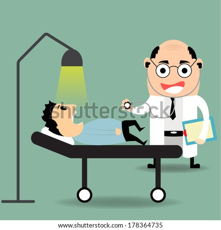 Cheerful doctor examines a young boy who is a sick patient in hospital - stock vector