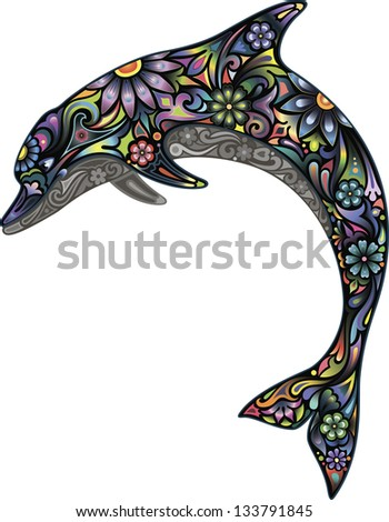 Cheerful dolphin - stock vector