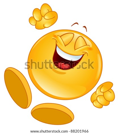 Cheerful emoticon jumping in the air - stock vector