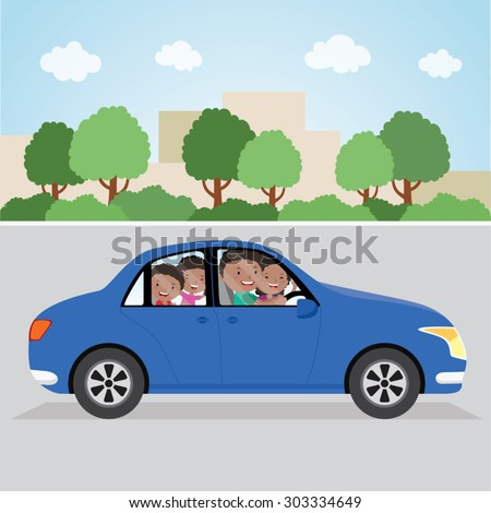 Cheerful family driving in a car. Family driving in the city. - stock vector