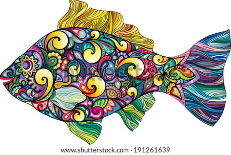 Cheerful fish - stock vector