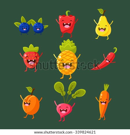 Cheerful fruit and vegetables. Food with cute faces, happy. Vector illustration set - stock vector
