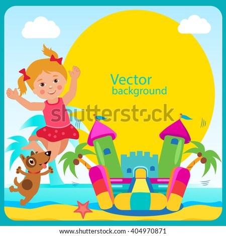Cheerful Girl And Dog Jump in Bouncy Castle. Summertime Template With Space For Text. Active Holidays Vector Concept Banner. Vector Summer Design. - stock vector