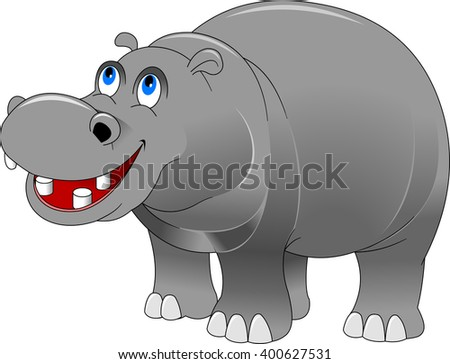 cheerful grey hippo on a white background, vector and illustration