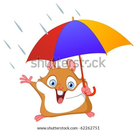 Cheerful hamster holding umbrella - stock vector