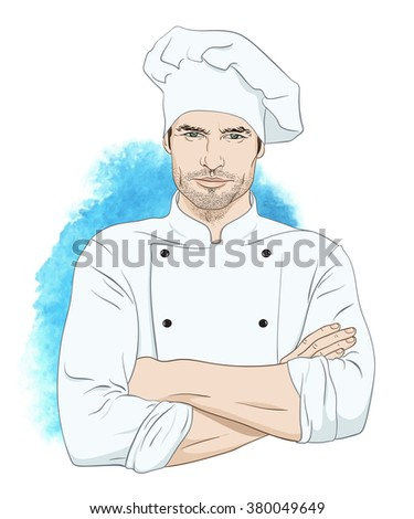 Cheerful handsome man chef standing with hands crossed on his chest over watercolor blue background vector illustration - stock vector