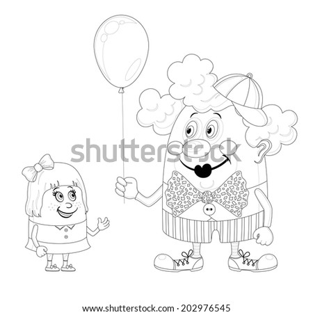 Cheerful kind circus clown gives a little girl a balloon, holiday illustration, funny cartoon character, black contour isolated on white background. Vector - stock vector