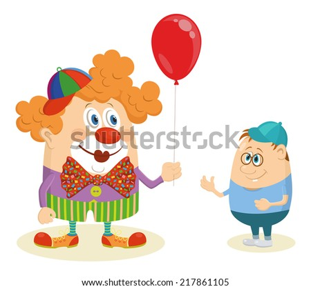 Cheerful kind circus clown in colorful clothes gives a little boy a balloon, holiday illustration, funny cartoon character isolated on white background. Vector - stock vector