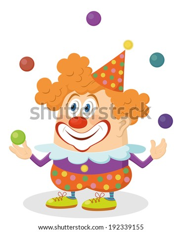 Cheerful kind circus clown in colorful clothes juggling balls, holiday illustration, funny cartoon character, isolated on white background. Vector - stock vector