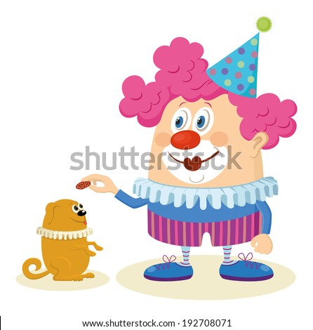 Cheerful kind circus clown in colorful clothes with trained dog, holiday illustration, funny cartoon character isolated on white background. Vector - stock vector