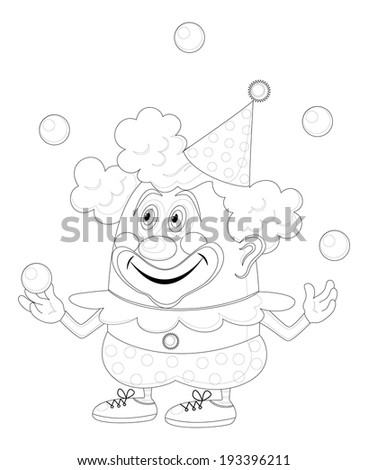 Cheerful kind circus clown juggling balls, holiday illustration, funny cartoon character, black contour isolated on white background. Vector - stock vector