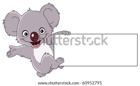 Cheerful koala climbing a sign - stock vector