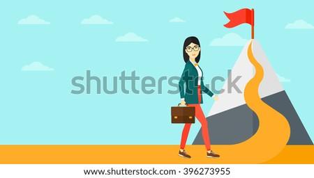 Cheerful leader woman. - stock vector