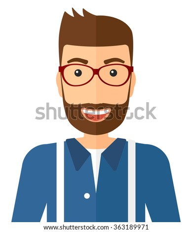 Cheerful man laughing ecstatically. - stock vector