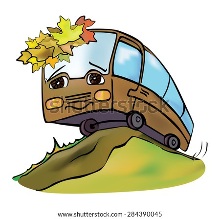 cheerful multicolored bus travels autumn clear day