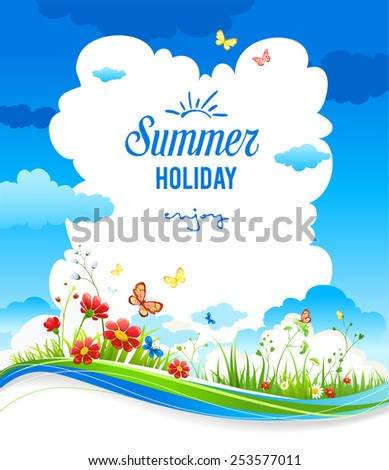 Cheerful positive summer background with green grass and flowers. Place for text. - stock vector