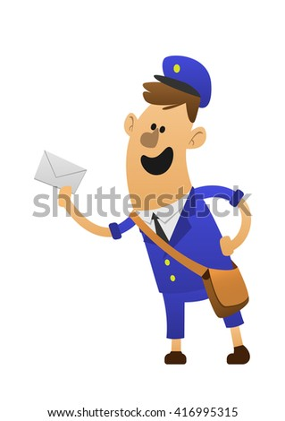 Cheerful postman. Friendly postman in blue uniform with bag and letters. - stock vector