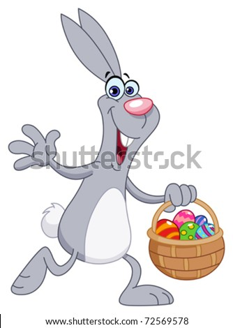 Cheerful rabbit with easter basket - stock vector