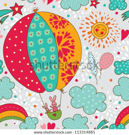 Cheerful rabbits are flying in a hot air balloon. Seamless pattern can be used for wallpaper, pattern fills, web page background, postcards. - stock vector