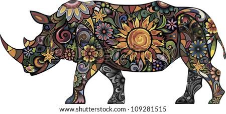 Cheerful rhinoceros - stock vector