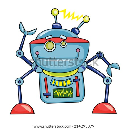 cheerful robot, vector illustration on white background - stock vector